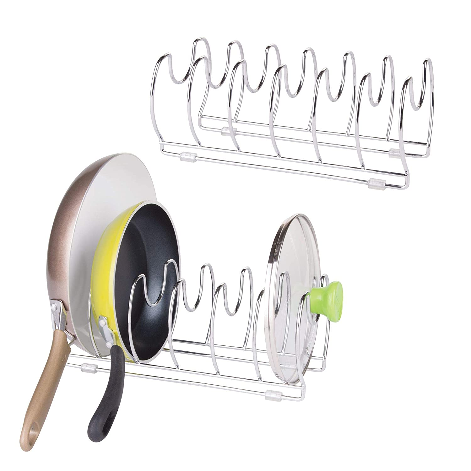 mDesign Pot and Pan Organizer Rack for Kitchen Cabinet, Pantry and Shelves - Organizer Holder with Six Slots for Skillets, Frying Pans, Lids - Vertical or Horizontal - Pack of 2, Steel Wire, Chrome MetroDecor
