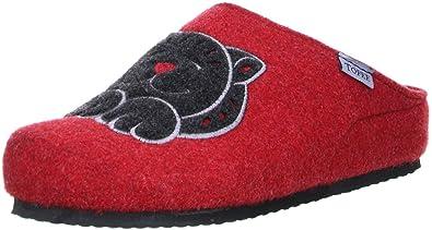 TOFEE Damen Hausschuhe Pantoffeln Naturwollfilz (Hirsch) Rot, Größe:39, Farbe:Rot
