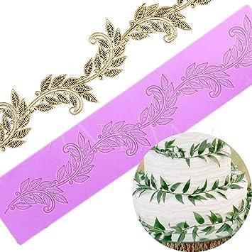 Anyana azúcar Encaje comestible de hojas Vine flores silicona alfombrilla de impresión en relieve Molde para