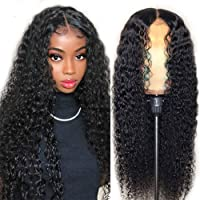 Curly Lace Front Wigs Human Hair Wigs For Black Women T Shape Middle Part Deep Wave Lace Front Wig Virgin Hair 150% Density Pre Plucked With Baby Hair Full .