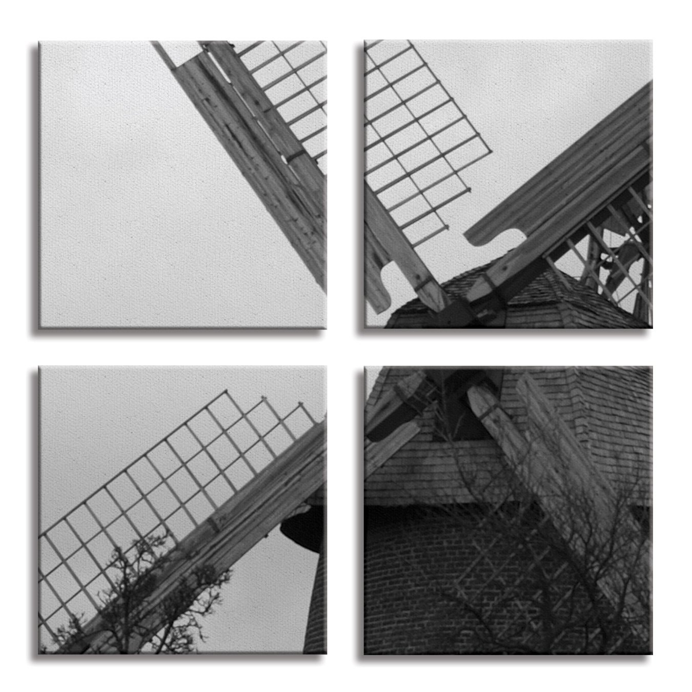 JP London 4 Panels 14in 4 Huge Gallery Wrap Canvas Wall Art Natural Windmill Power At Overall 28in QDCNV2033
