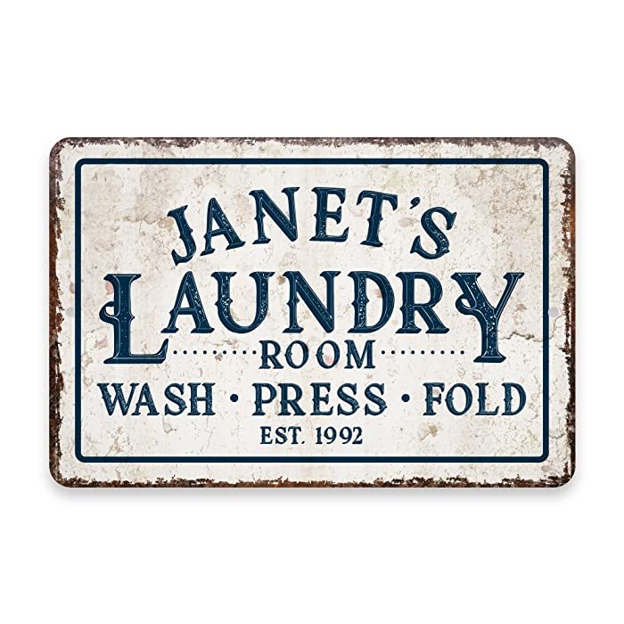 Personalized Vintage Distressed Look Laundry Wash Press Fold Metal Room Sign