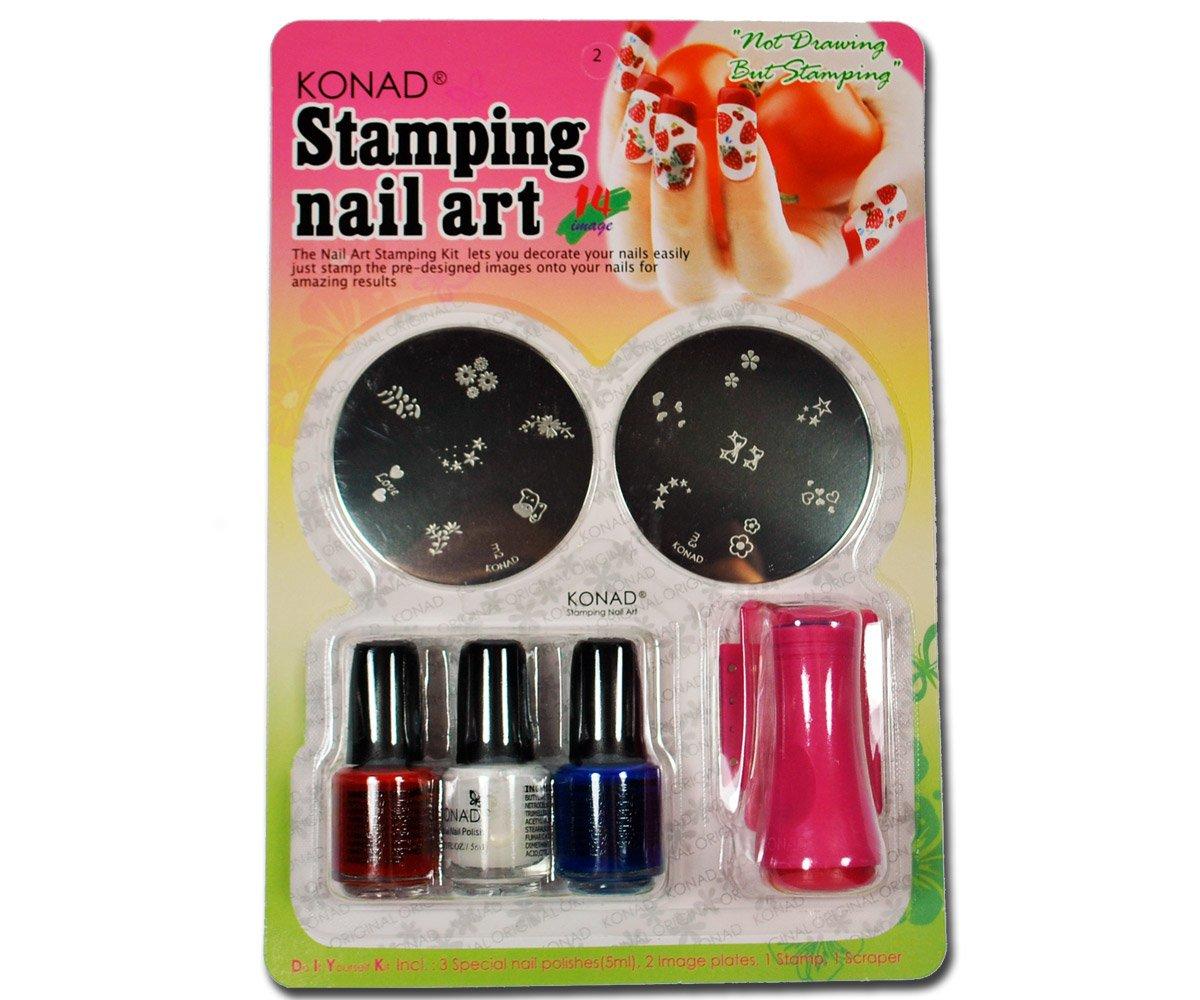 Konad–Juego para estampado de–2plantillas 3Stampin glacke 1sello & Scrapper para nail art–Set de regalo RM Beautynails