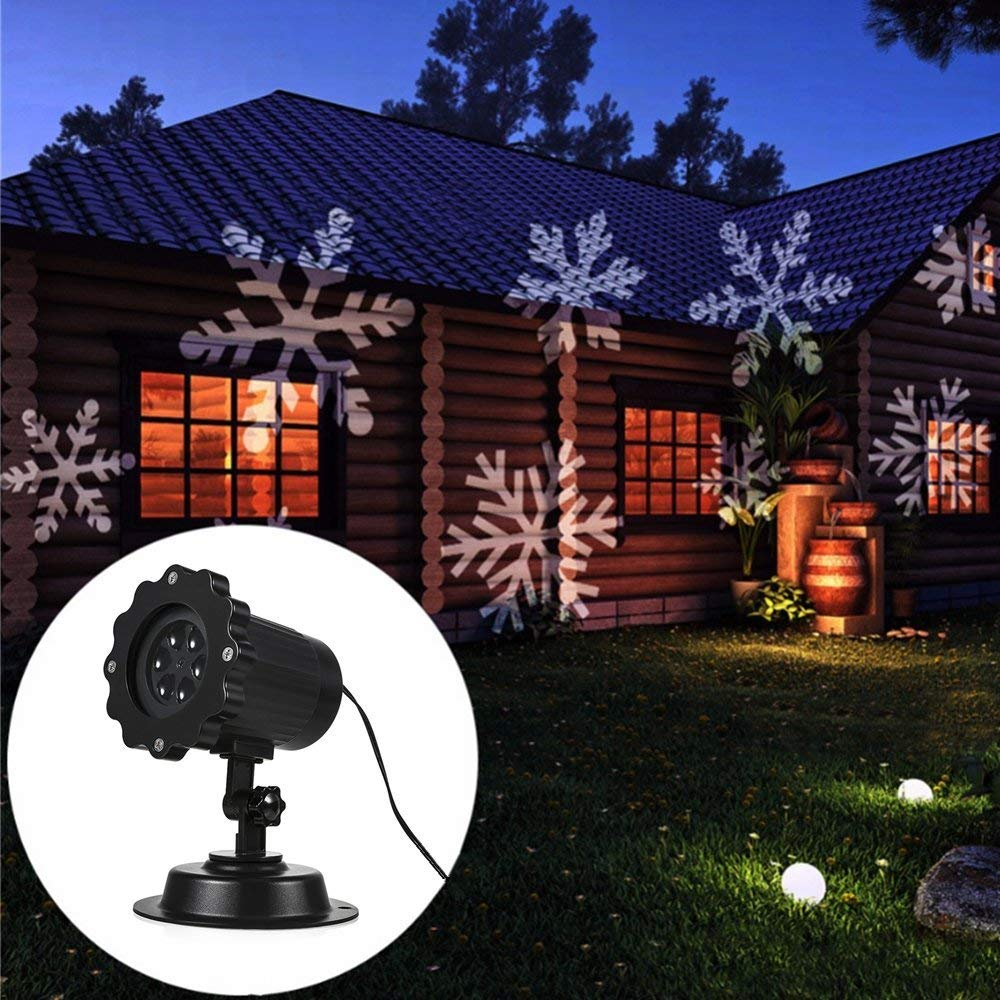 GreenClick Projector Lights Outdoor,Waterproof LED Motion Laser Projector Decorative Lighting,Rotating White Snowflake Night Lights Indoor Decor,Landscape Spotlight for Holiday Halloween Xmas Party