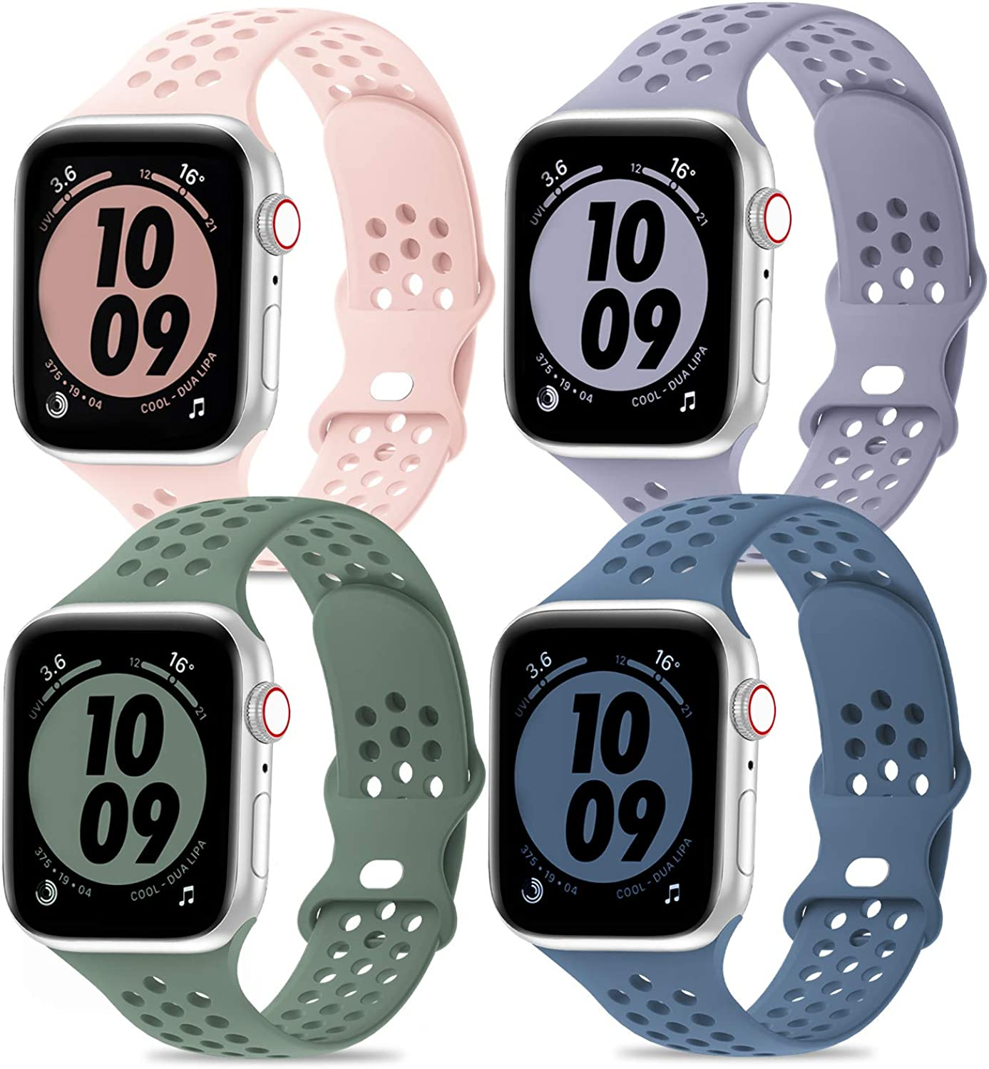 iWabcertoo Compatible with Apple Watch Bands 38mm 40mm 42mm 44mm,4 Packs Sport Breathable Soft Silicone Replacement Straps Compatible for iWatch Series SE 6 5 4 3 2 1 Sport Edition Women Men