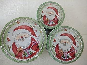 Amazon.com: 3PCS/set Metal Santa Claus iron storage box biscuits box ...