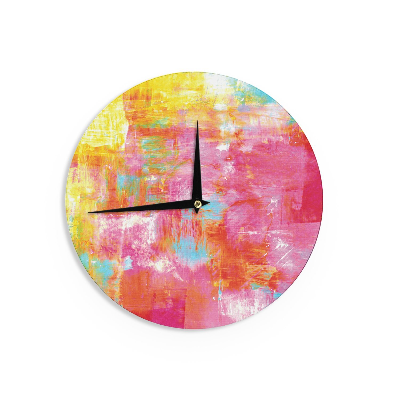 Kess InHouse EBI Emporium Off The Grid III Pink Yellow Wall Clock 12