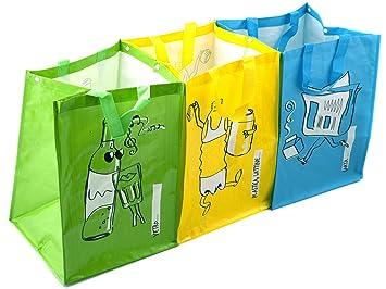 Ho-Me In Rombo Juego De 3 Bolsas De Reciclaje De Color