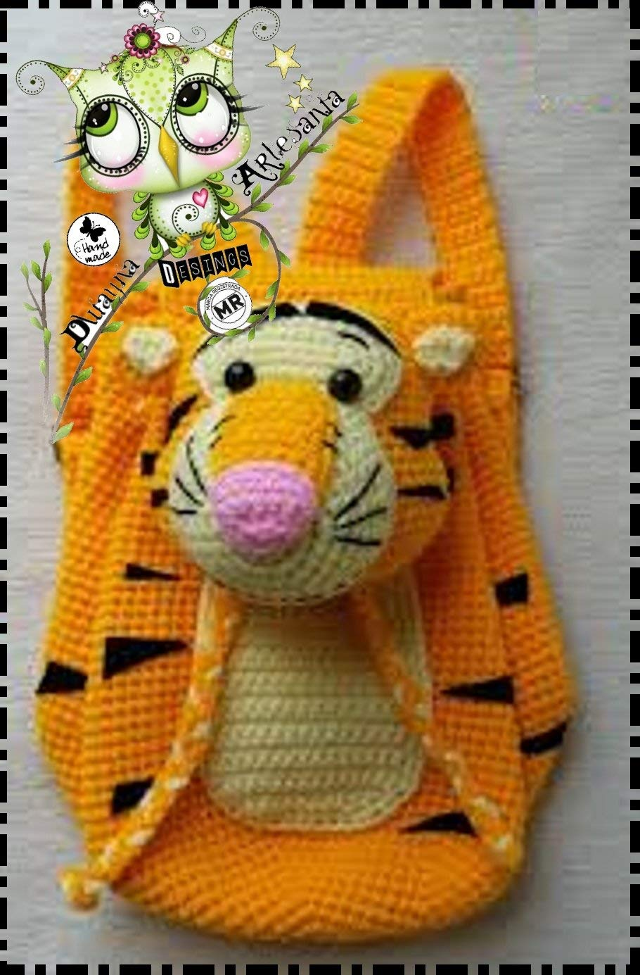 Mochila TIGRE PERSONALIZABLE (Bebé, crochet, ganchillo, muñeco, peluche, niño, niña, lana, mujer, hombre) MODA, ESCOLAR, AMIGURUMI, DEPORTE: Amazon.es: ...