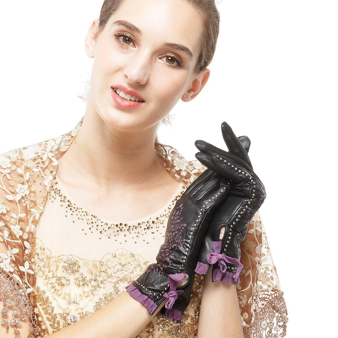 Nappaglo Women's Genuine Nappa Leather Gloves Perforated Winter Warm Short Gloves with Purple Lace (S (Palm Girth:6.5''-7''), Black (Non-Touchscreen)) by Nappaglo (Image #2)