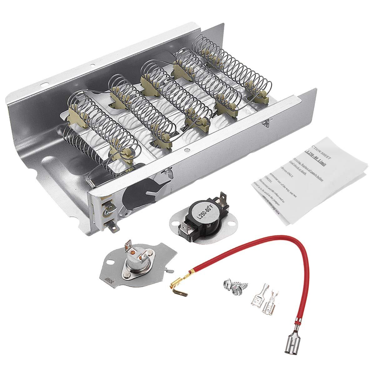 Acquisto Wuchance Kit riscaldatore e termostato dell'essiccatore 279838 per Whirlpool Kenmore Mayta Roper Prezzi offerte