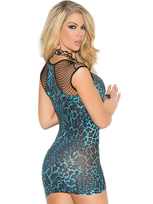 Amazon.com  Elegant Moments Animal Print Mini Dress - Blue animal print -  One Size  Clothing 8b76211ff