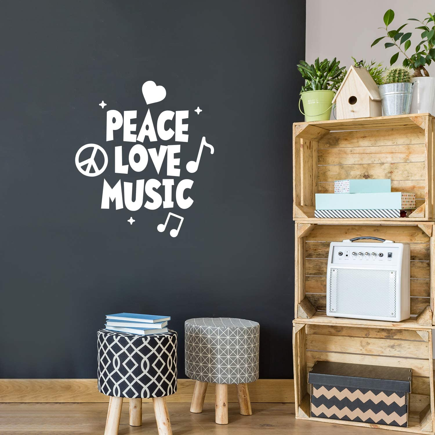 """Vinyl Wall Art Decal - Peace Love Music - 26"""" x 23"""" - Modern Urban Music Lover Quote for Home Living Room Bedroom Sticker - Trendy Good Vibes for Office Business Workplace Decor (26"""" x 23"""", White)"""