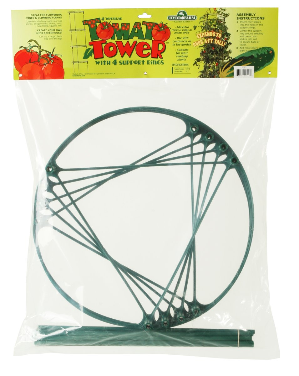 Hydrofarm Gctc 4 Foot Tomato Cage - Modular Tomato Tower With 4 Support Rings 2