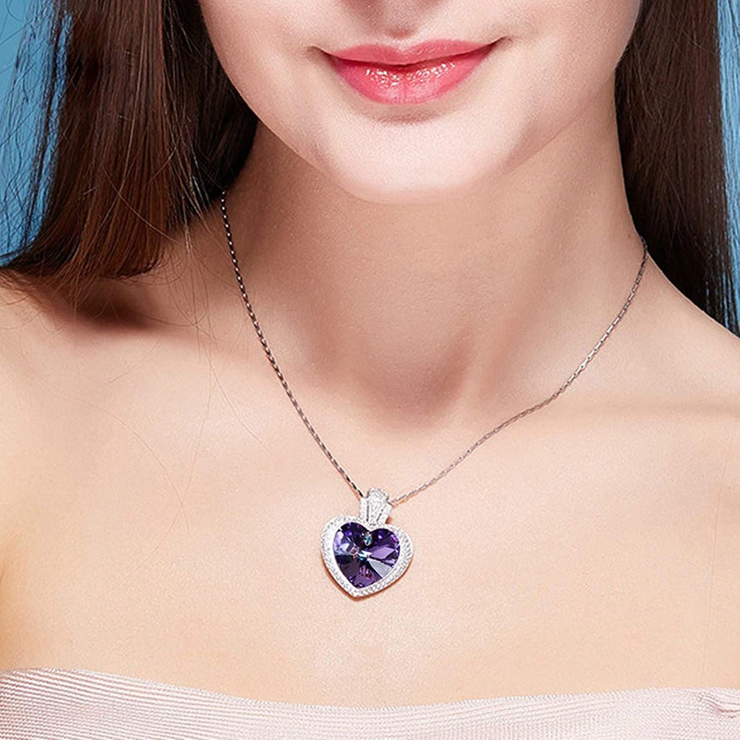 ANAZOZ S925 Sterling Silver Necklace Heart Crystal Purple Pendants Color Changing