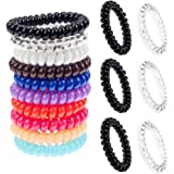 Premium Quality Hair Styling HairdosTie Set Kit With 3 Clear / Transparent, 3 Black And 10 Mixed Colours Spiral Plastic Traceless Coils / Wires / Cord / Hair Bobbles / Telephone Bands By VAGA®