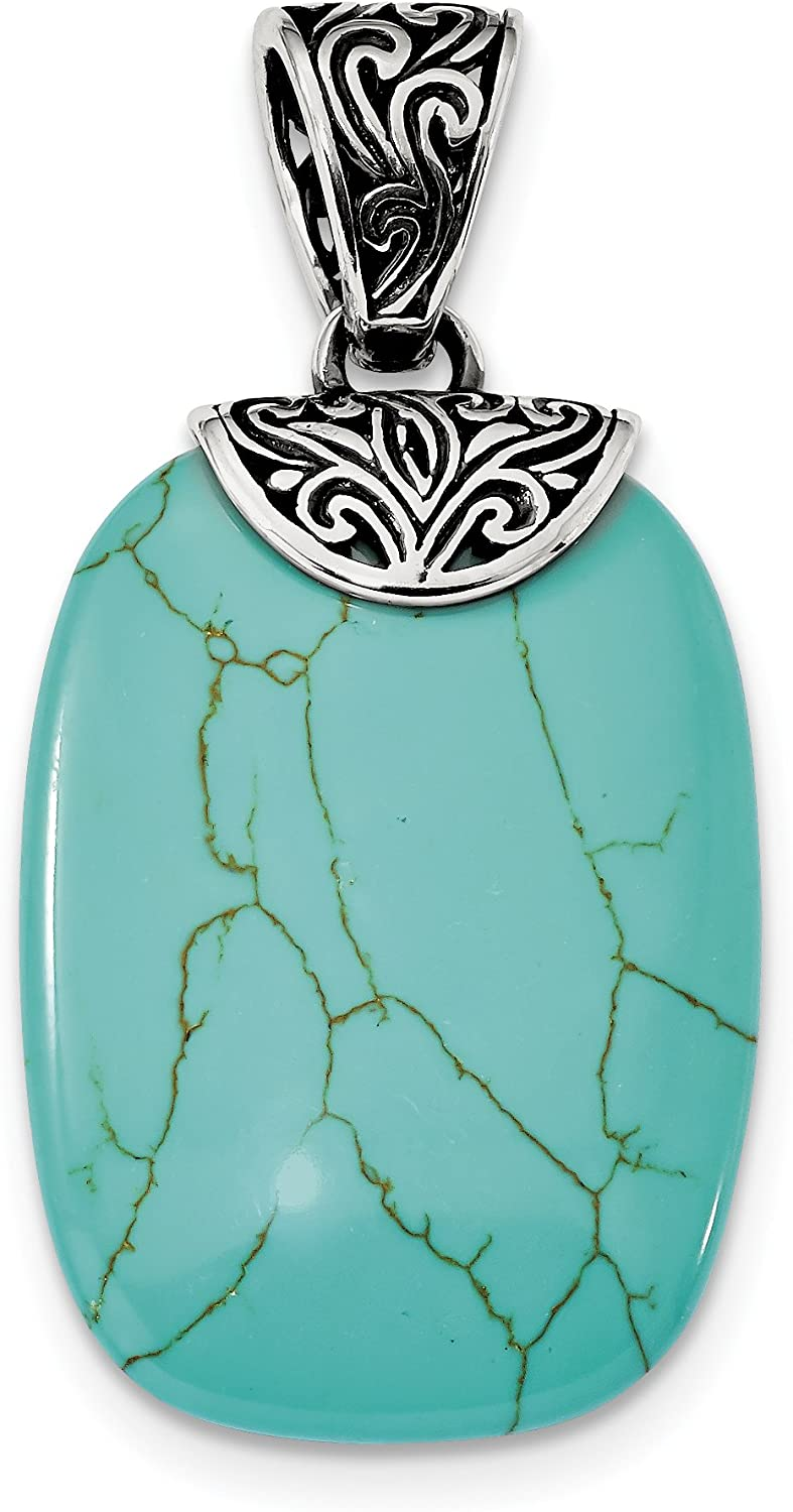 925 Sterling Silver Antiqued Turquoise Pendant Fine Jewelry Ideal Gifts For Women