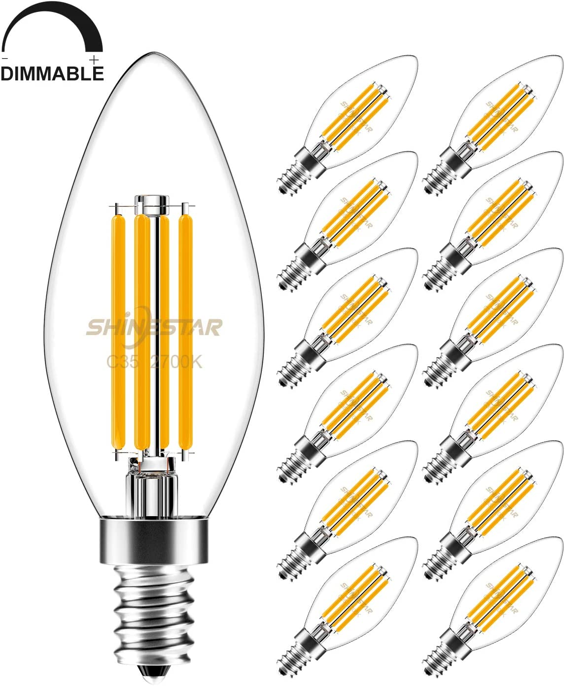 12-Pack Dimmable E12 LED Candelabra Bulbs 60 watt Equivalent, 2700K Warm White, B11 B10 Type B LED Filament Bulb, Chandelier Bulb, Ceiling Fan Light Bulb