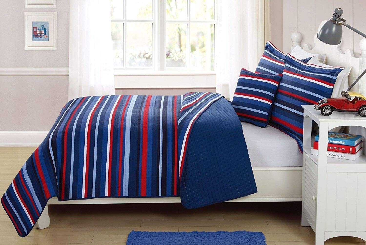 Elegant Home Decor Multicolor Light & Dark Blue Red White Striped Design Fun Colorful 3 Piece Quilt Bedspread Bedding Set with Decorative Pillow for Kids/Boys (Twin)