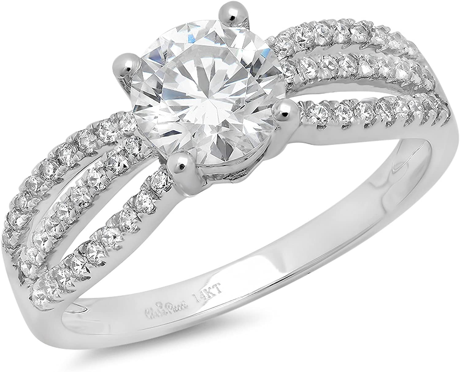 Clara Pucci 1.45 Ct Round Cut Pave Halo Engagement Bridal Anniversary Promise Ring Band 14K White Gold Gold