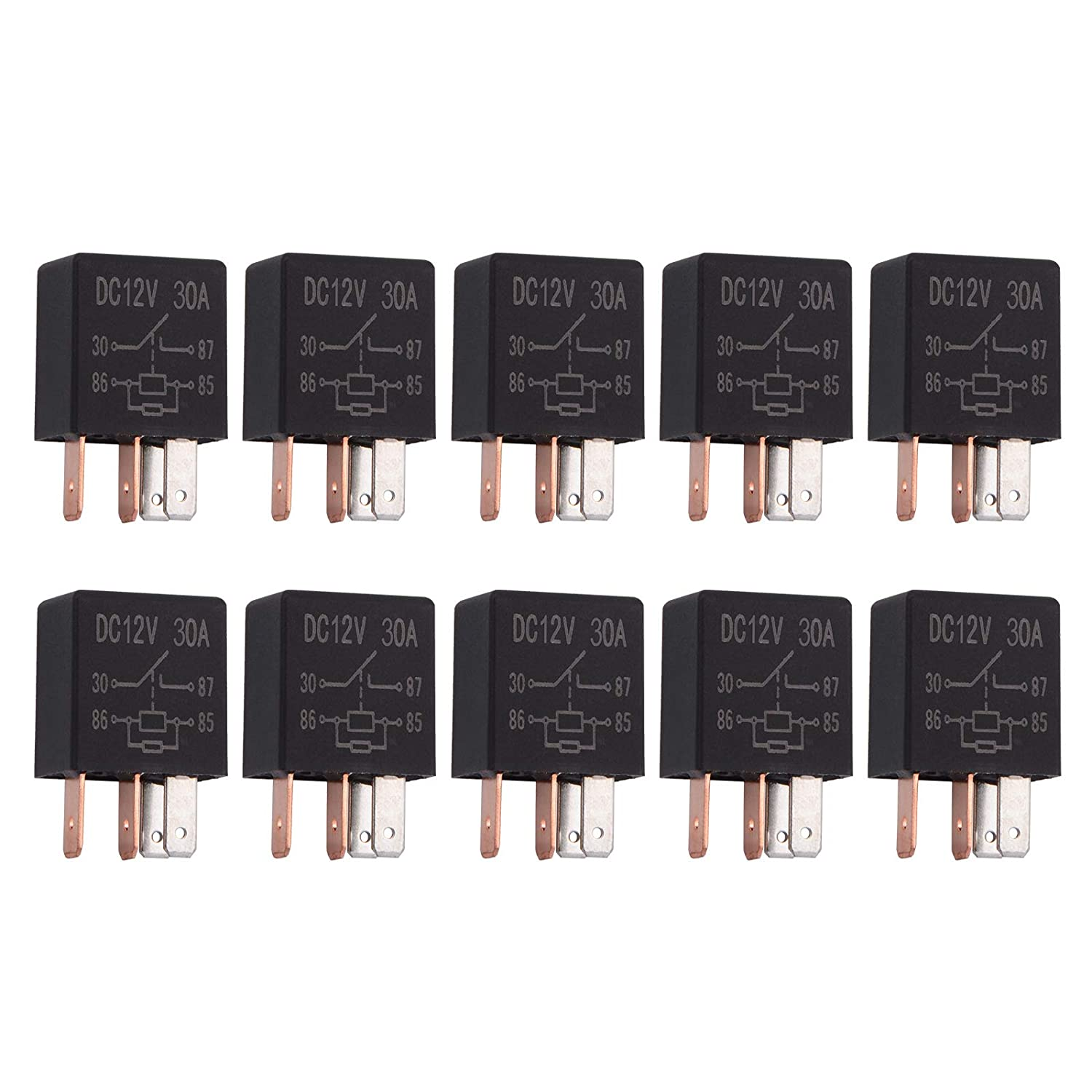 Ehdis 4 Pin 24VDC 30A SPST Multi-Purpose Relay Heavy Duty Standard Relay Kit Pack of 10