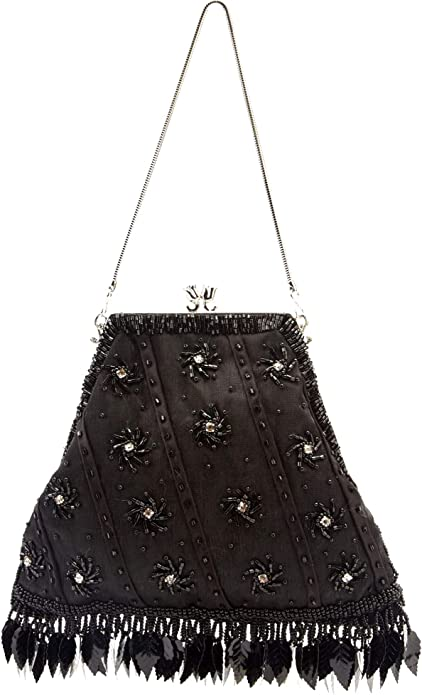 Victorian Purses, Bags, Handbags Access All Areas Black Victorian Embellished Beaded Diamante Evening Bag Purse Satin Metal Shoulder Strap Clutch Feather Gothic Small $29.99 AT vintagedancer.com