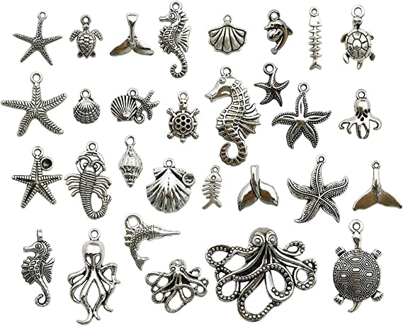 Sea Horse Charm Animal Charm Sea Charm Enamel Charm Bracelet Charm Craft Supplies Gold Tone 10x20mm 10PCS