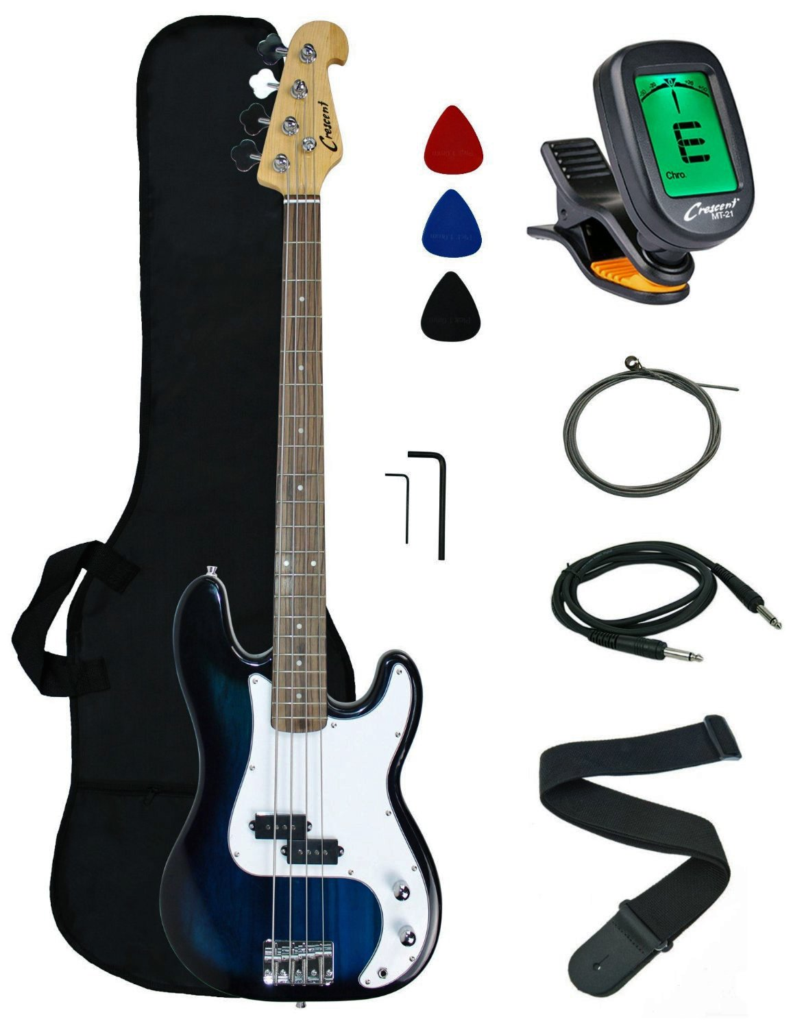Crescent Electric Bass Guitar Starter Kit - Sunburst Color (Includes CrescentTM Digital E-Tuner) Other EB-SB-Tuner-Picholder-Pics