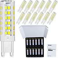 DiCUNO G9 LED Ceramic Bulb 6W 550LM Daylight White 6000K 220-240V Energy Saving Lamp Chandelier Non-dimmable 12Pcs
