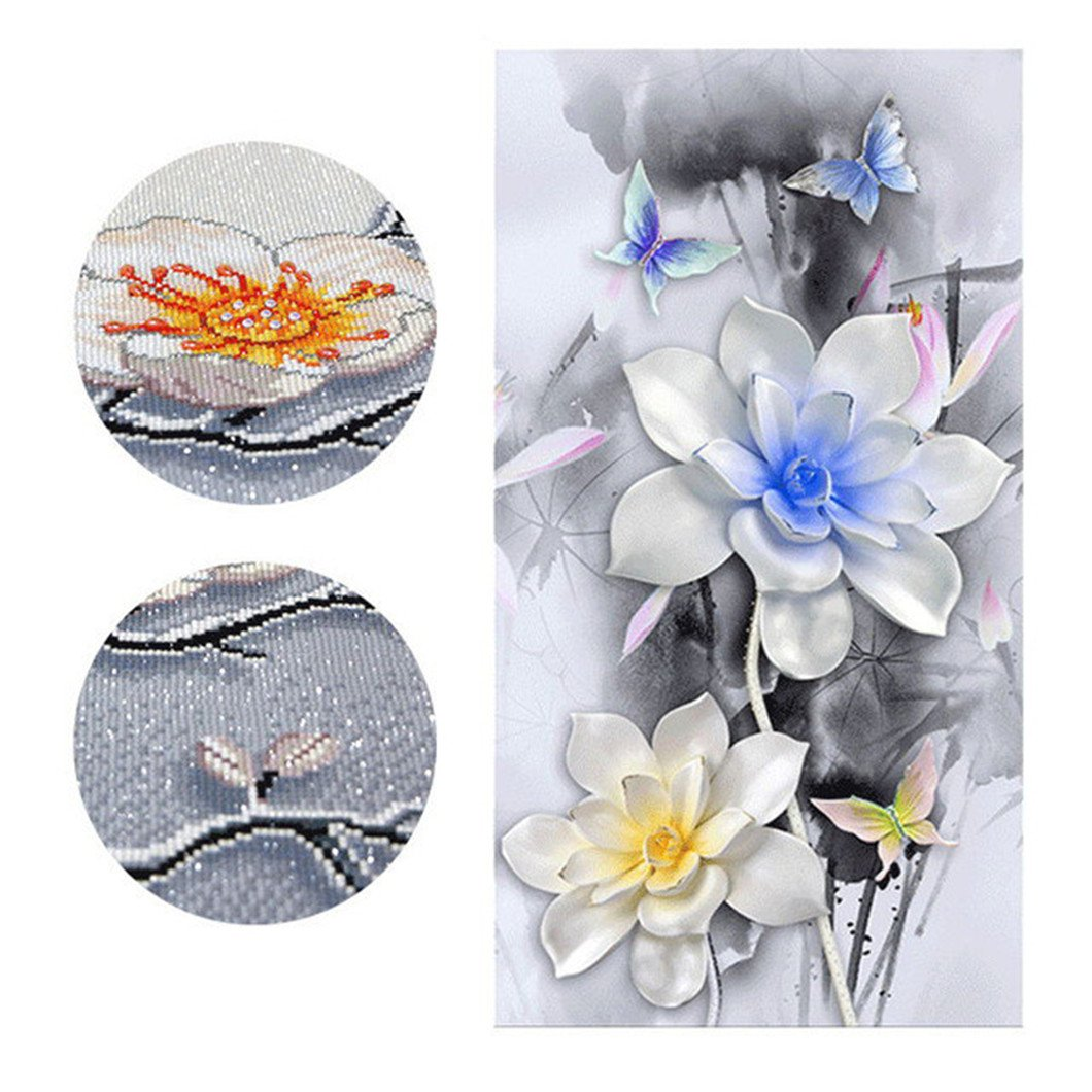 Mazixun Special Shaped Flower Lotus Diamond Embroidery Full DIY Diamond Painting Cross Stitch Diamond Mosaic Bead Picture Home Decor