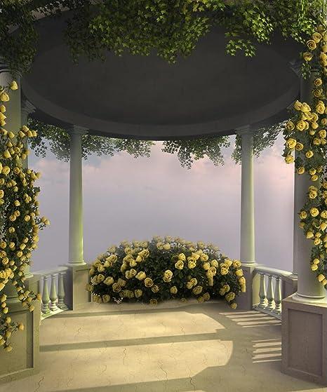 Fairy Pergola Fondo de Fotografía Amarillo Floral Verde Hojas de ...