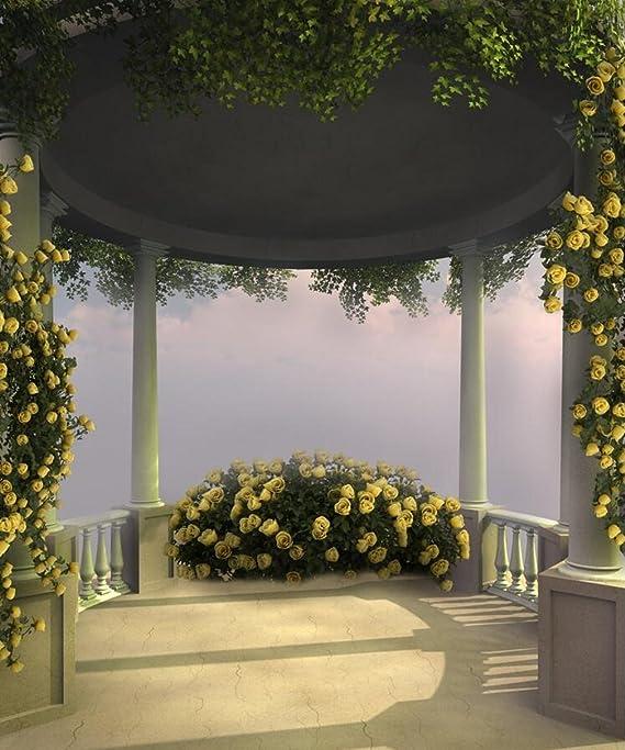 Fairy Pergola Fondo de Fotografía Amarillo Floral Verde Hojas de Hiedra Pilar Pavilion Fairy Jardín Escena Foto Fondo para Estudio 8 x 10 pies: Amazon.es: Electrónica