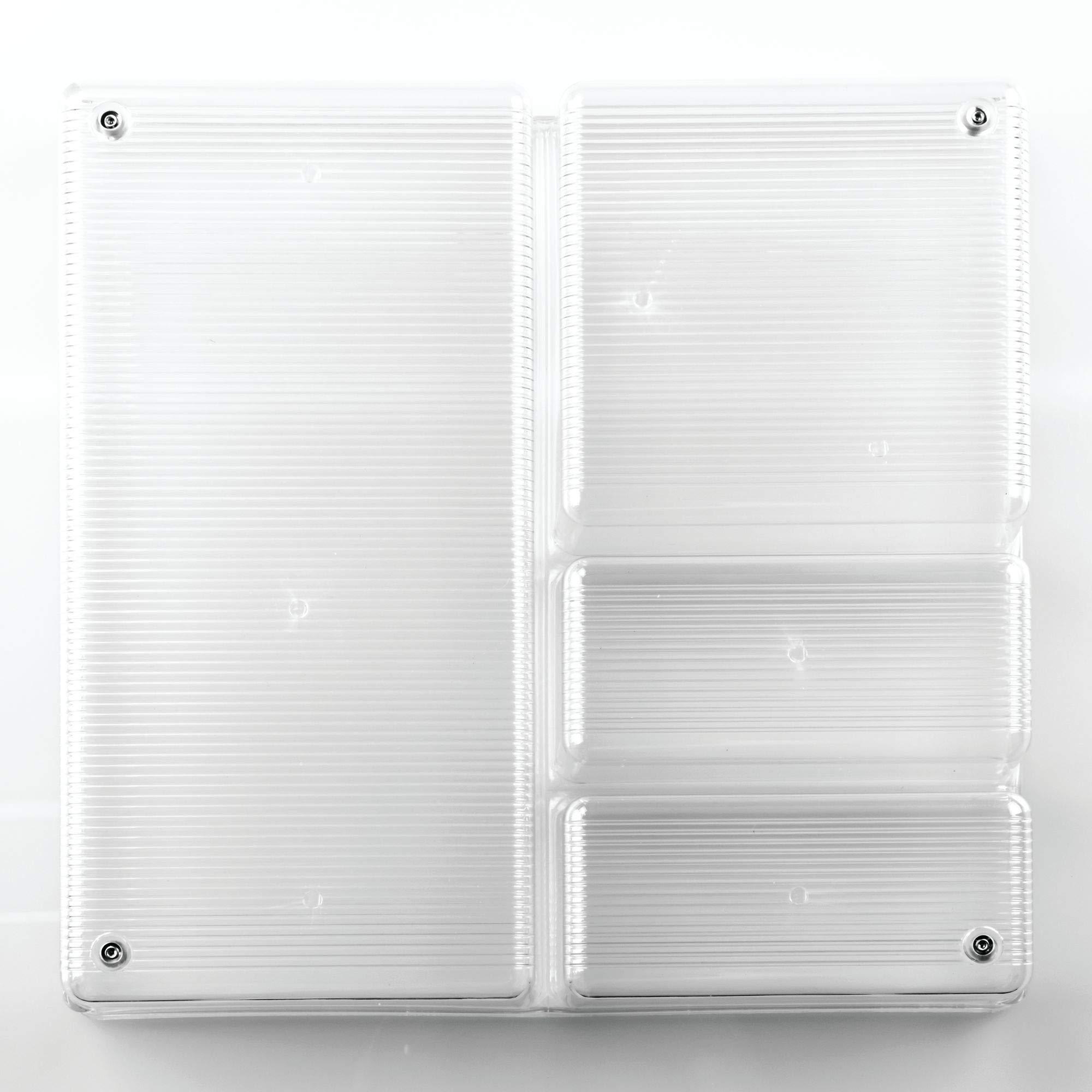 InterDesign Linus Plastic Grand Divided Organizer, Storage Container for Kitchen, Vanity, Bathroom Drawers, 12'' x 12'' x 2'' Clear by InterDesign (Image #5)
