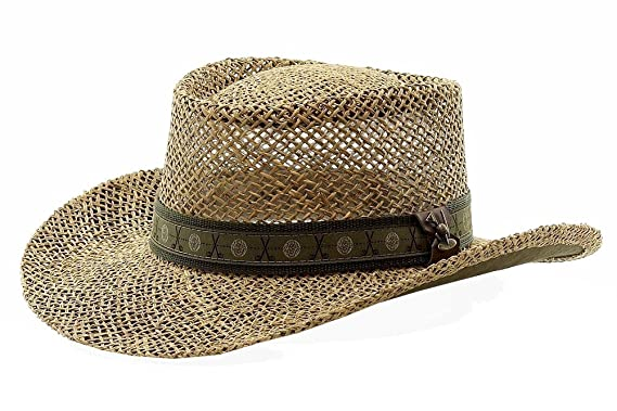 43ef1a6641a46 Scala Pro Men s Twisted Seagrass Natural Straw Gambler Hat - Brown ...