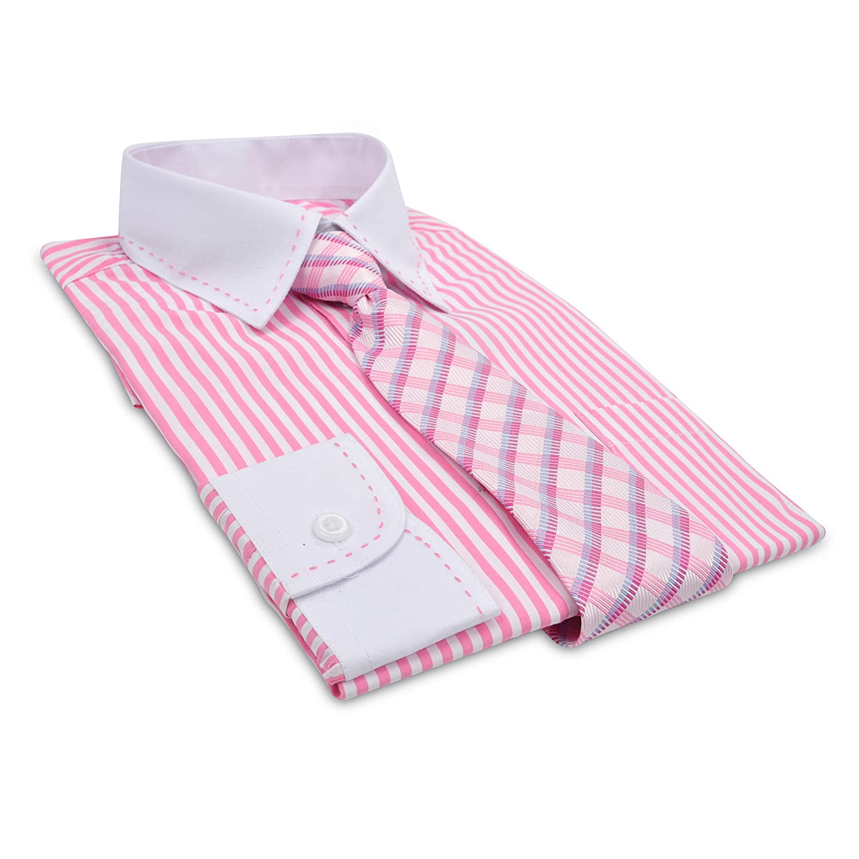 Sizes 8-20 JAMES MORGAN Boys Stripe Shirt and Geometric Tie Set