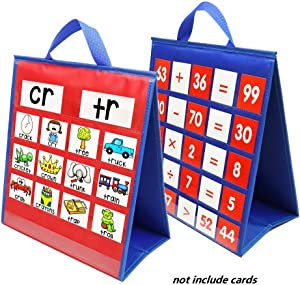 Portable Tabletop Desktop Pocket Chart,Double Sided & Self-Standing