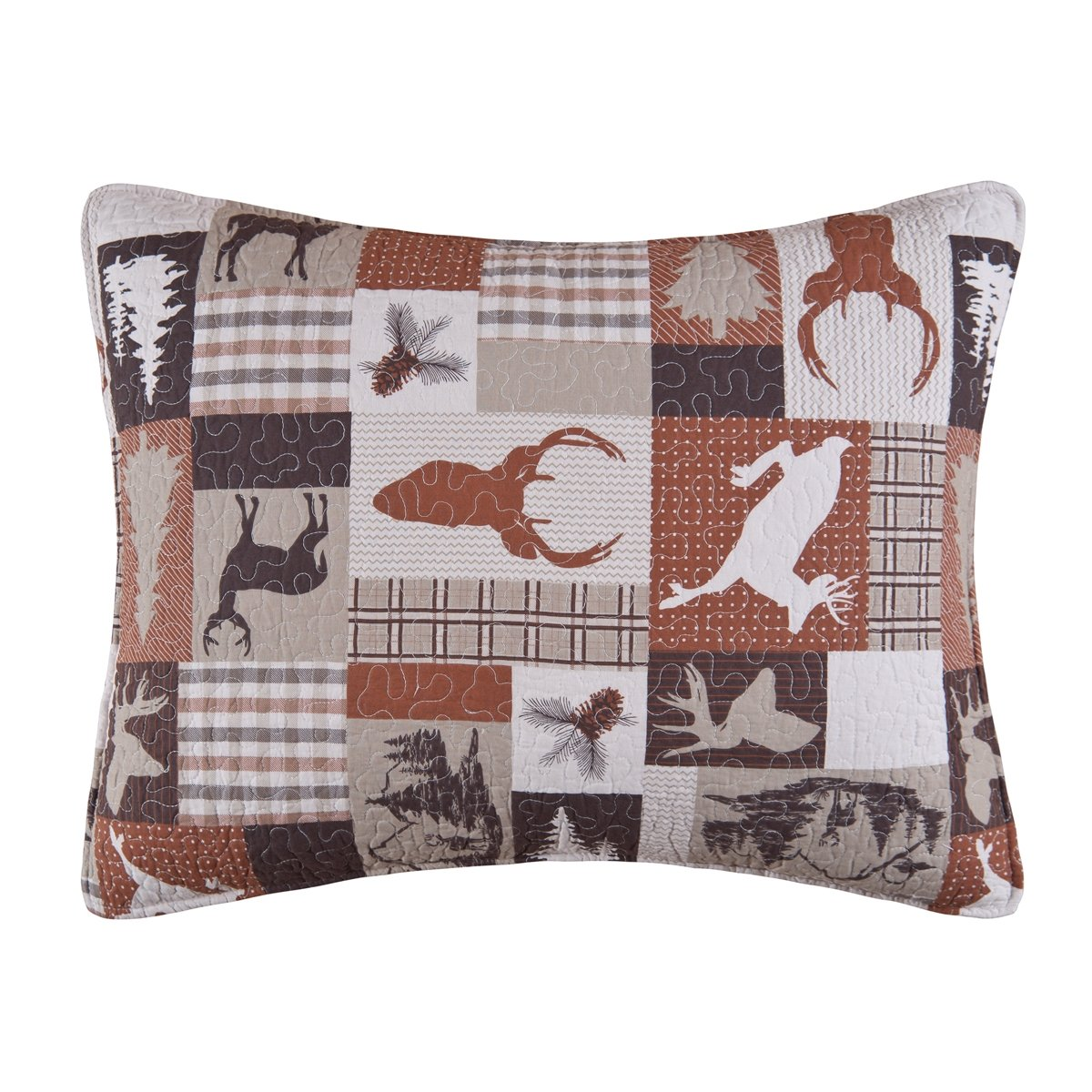 C & F Enterprises Shades of Brown Tan Beige Animals Deer Antlers Pines Forest Wilderness Pattern Quilted Sham, Hunter -- Standard , 20 Inches by 26 Inches