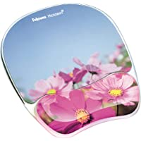 Fellowes Photo Gel Mouse Pad and Wrist Rest with Microban Protection, Pink Flowers (9179001)