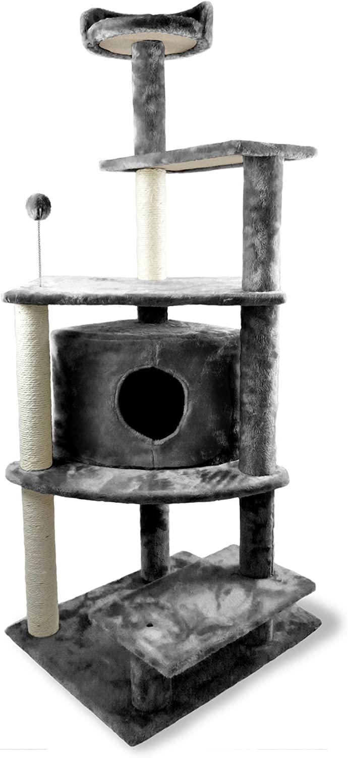 Furhaven Pet Cat Tree - Tiger Tough Cat Tree House Condo Perch Entertainment Playground Furniture for Cats and Kittens, Platform House Playground, Gray : Pet Supplies