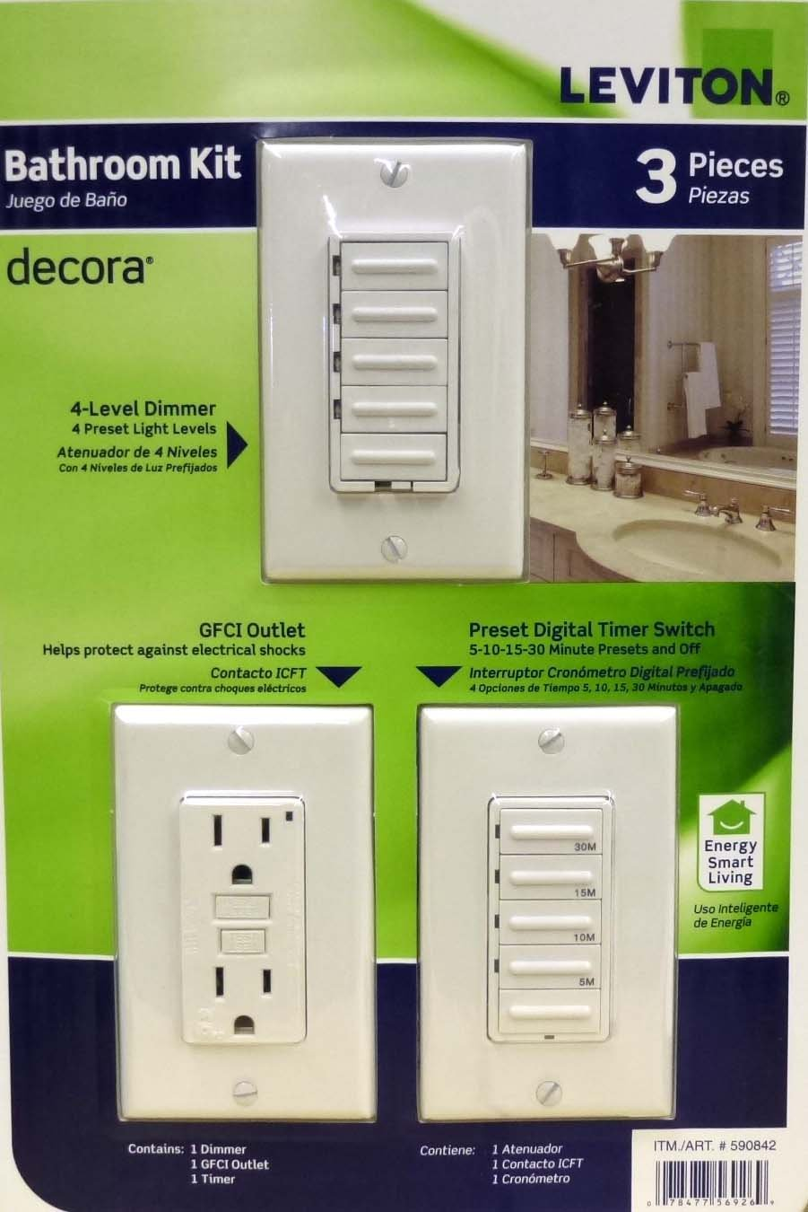 Amazoncom Leviton Bathroom Decora  PACK Level Dimmer GDCI - Bathroom dimmer light switch