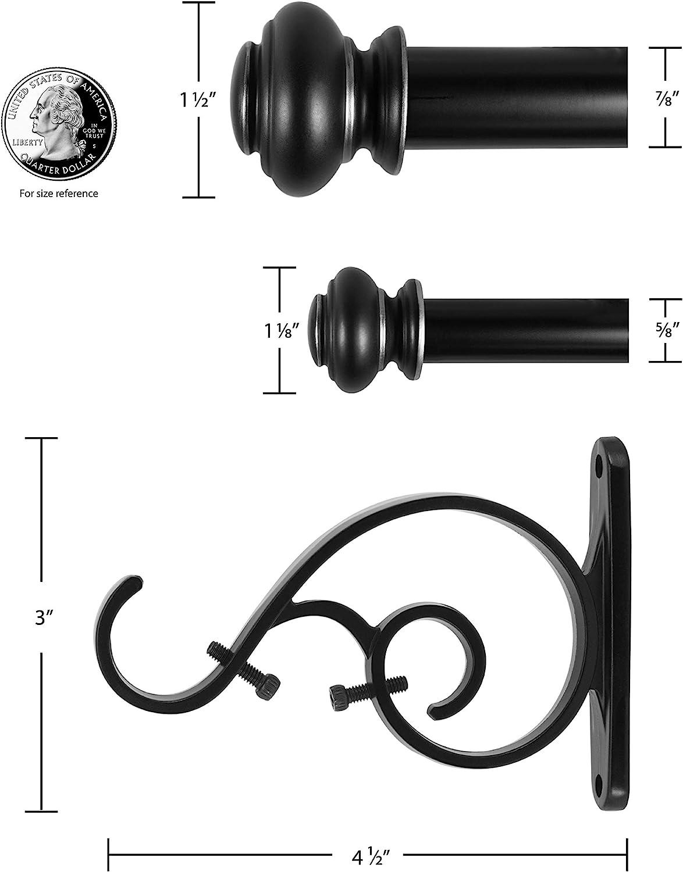 72 to 144-Inch Brown Beme International Decopolitan 1-Inch Urn Telescoping Drapery Rod Set