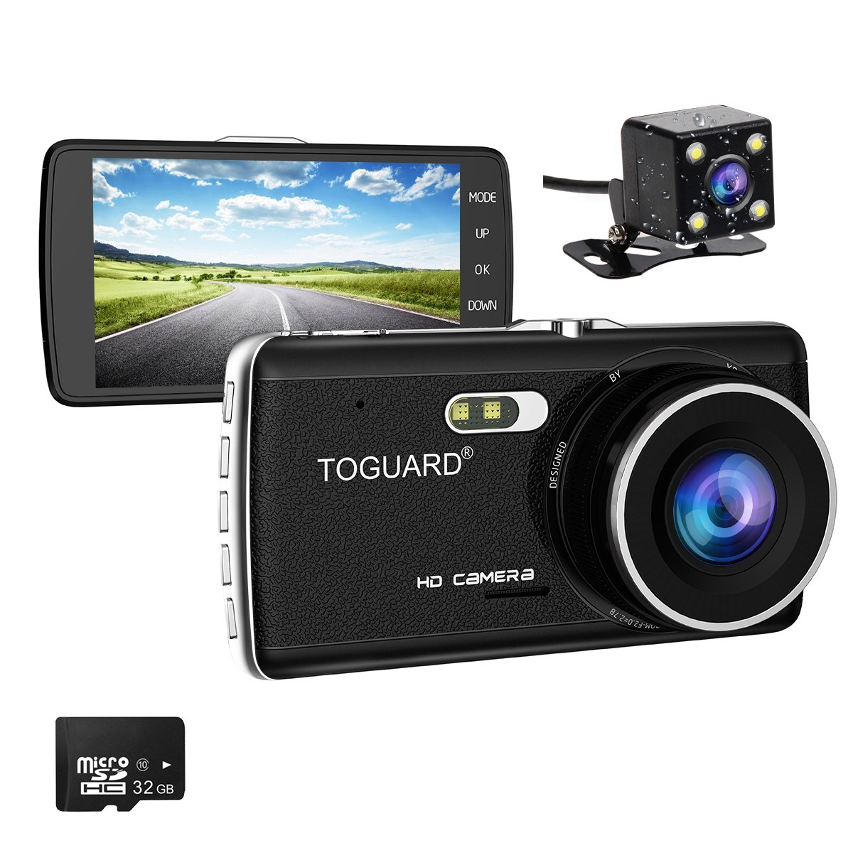 TOGUARD Full HD 1080P Dual Dash Dam 4.0 inch LCD Screen Car Dash Cam DVR, Front Camera and Rear View Cam, 170 Degree Wide Angle with Loop Recording, Parking Monitor, G-sensor, Night Vision CE684
