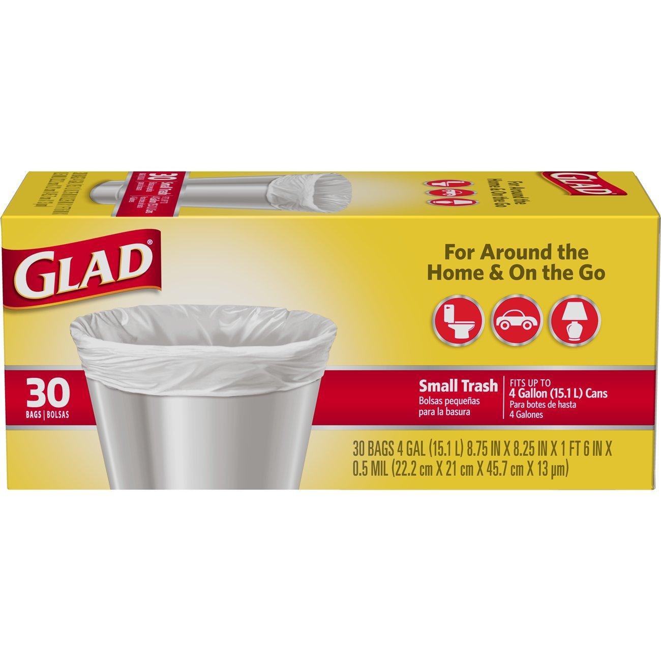 Glad Small Trash Bags - 4 Gallon White Trash Bag - 30 Count