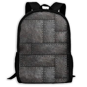 TAOHJS106 Dark Metal Plates Pattern Waterproof Adult Backpack Shoulder Bag  for Women and Men Premium Durable 0a496afe9153b