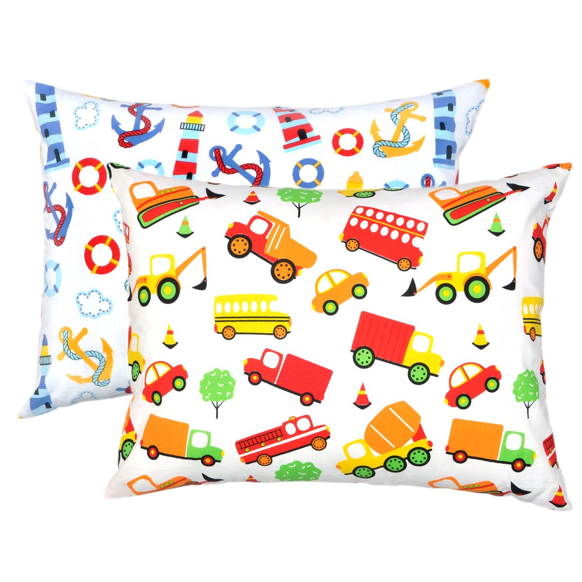 YourEcoFamily Top Quality Toddler Pillowcases - 100% Certified Organic Cotton - Soft, Comfy, Colorful, Naturally Hypoallergenic - Unisex 2 Pack SYNCHKG091779