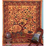 Popular Handicrafts Tree of Life Bohemian Psychedelic Intricate Floral Design Indian Bedspread Tapestry 90x84 Inches,(230cmsx