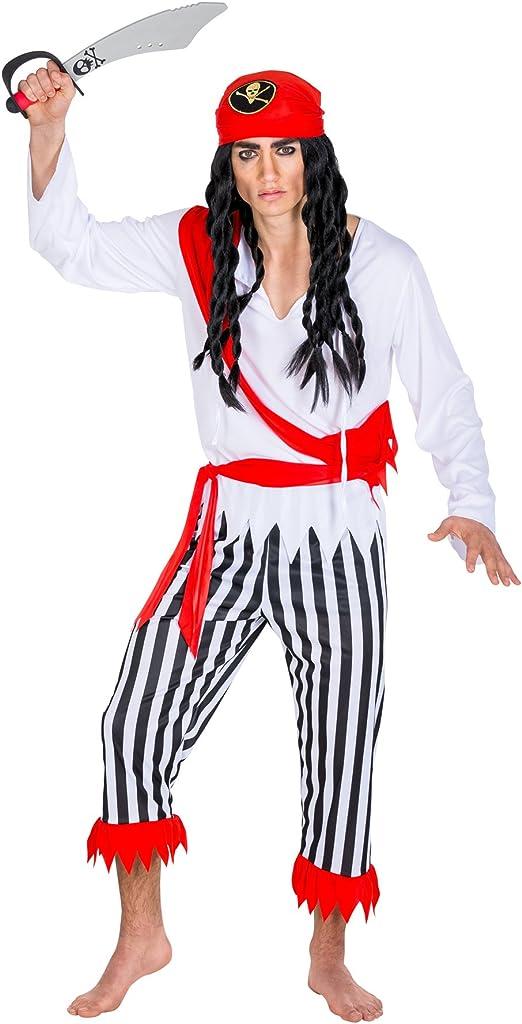 TecTake dressforfun Disfraz de Capitán Pirata bucanero para Hombre   pañuelo Triangular con cinturón Rojo para anudar a la Cintura (L   no. 300703)