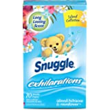 Snuggle Exhilarations Fabric Softener Dryer Sheets, Island Hibiscus & Rainflower, 70 Count