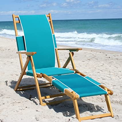 Amazon.com: Roble Silla de playa plegable con legrest ...