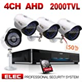 ELEC 4CH-4Camera In&Outdoor 1080N AHD Home Security Camera System with [ 500GB HDD ] CCTV Monitoring Video Surveillance DVR kit with 4pcs 720P 2000TVL 65ft Night Vision Bullet Cameras Remote Access √
